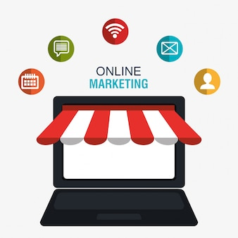 Digitales marketing und online-verkauf, online-shop im display pc
