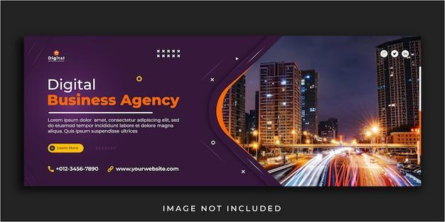 Digitales marketing-web und facebook decken die post-banner-vorlage für soziale medien ab