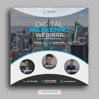 Digitales marketing webinar social media post vorlage, quadratische banner vorlage