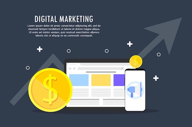 Digitales marketing wird aus mehreren objekten abgebildet