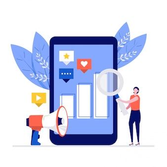 Digitales marketingillustrationskonzept mit zeichen. frau, die daten auf smartphone unter verwendung der lupe analysiert.