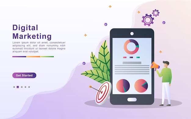 Digitales marketingkonzept. analysieren und identifizieren sie marketingergebnisse.