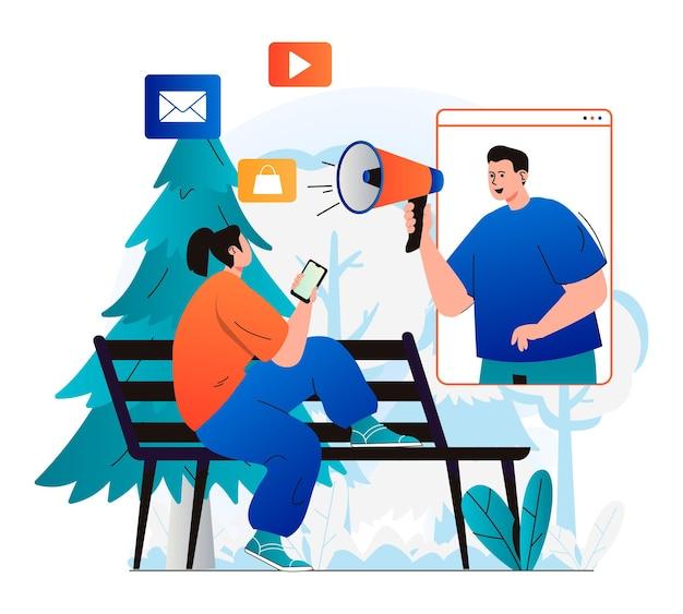 Digitales marketingkonzept im modernen flachen design mann mit megaphon zieht kunden an