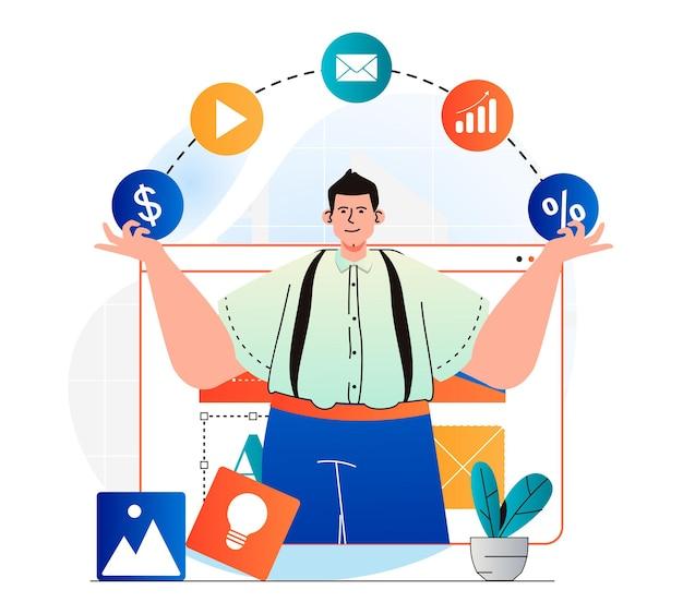 Digitales marketingkonzept im modernen flachen design mann verwendet marketingtools e-mail-newsletter