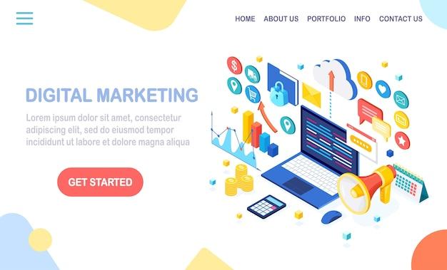 Digitales marketingkonzept. isometrischer 3d-computer, laptop, pc mit geldkarte, grafik, ordner, megaphon, lautsprecher