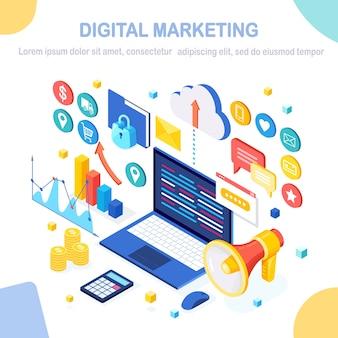 Digitales marketingkonzept. isometrischer computer, laptop, pc mit geldkarte, grafik, ordner, megaphon, lautsprecher. geschäftsentwicklung, strategie, werbung. social media analyse.