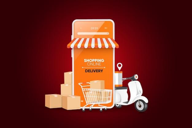 Digitales marketingkonzept online-shopping auf der mobilen anwendung premium-vektor