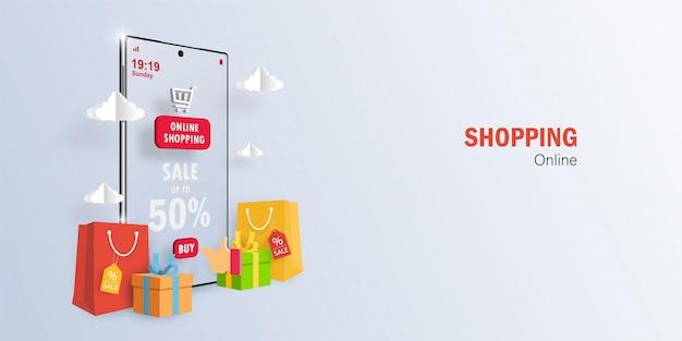 Digitales marketingkonzept online-shopping für mobile anwendungen