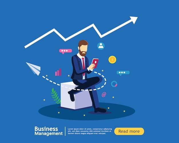 Digitales marketingstrategiekonzept mit geschäftsmann in der modernen flachen designschablone