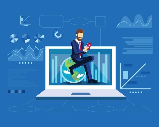 Digitales marketingstrategiekonzept mit geschäftsmann sitzen auf kugel in der modernen flachen designschablone