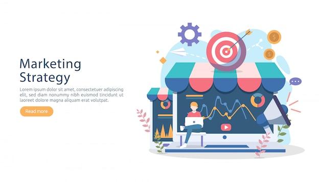 Digitales marketingstrategiekonzept mit kleinem leutecharakter.