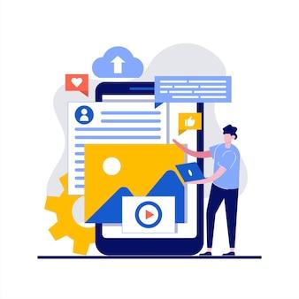Digitales mediendatenkonzept mit charakter. menschen, die mit der datenbank für multimediadateien arbeiten, musik oder videofilme hochladen und abspielen.