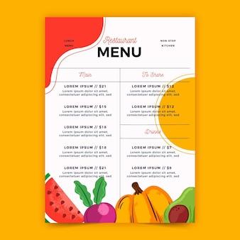 Digitales menü für restaurant im vertikalen format