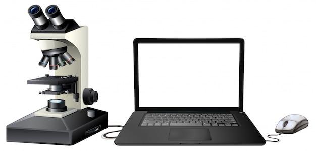 Digitales mikroskop des computers auf weißem hintergrund