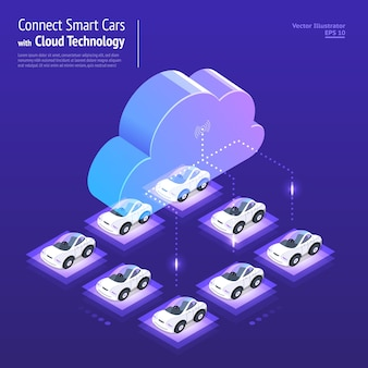 Digitales netzwerk des illustrationsentwurfskonzepts mit cloud-technologie