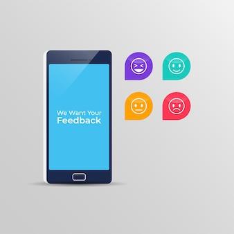 Digitales online-feedback auf dem smartphone mit emoticons.