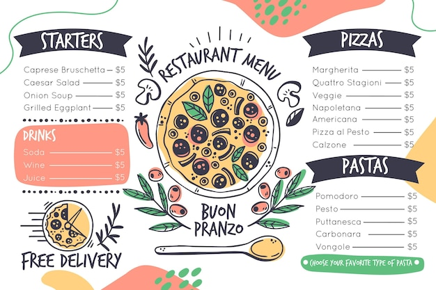 Digitales restaurantmenü im querformat