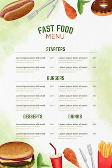Digitales restaurantmenü im vertikalen format mit lebensmittelillustration