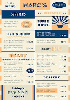 Digitales restaurantmenü im vertikalen format