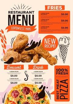Digitales restaurantmenü mit frischen lebensmitteln