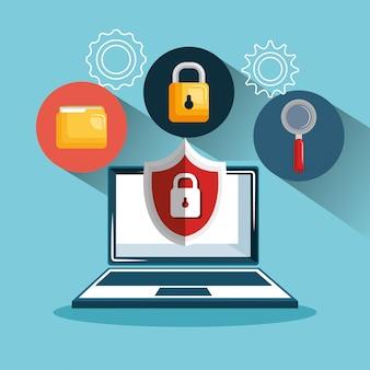Digitales sicherheitsdesign für laptop-technologiedaten