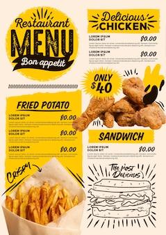 Digitales vertikales restaurantmenü mit fleisch und pommes