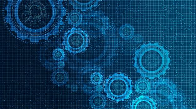 Digitales zahnrad und hahn auf technologie-hintergrund, vektor