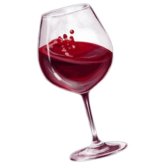 Digitales zeichenglas rotwein