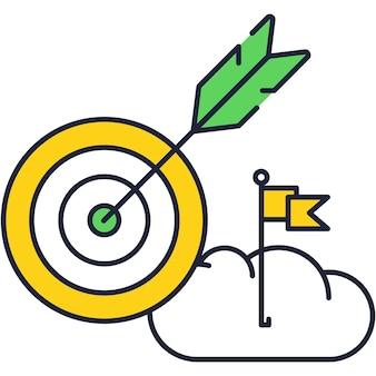 Digitales ziel mit pfeilsymbol und vektorwolke mit flagge anvisieren. geschäftsstrategie für finanzielles wachstum und erfolg, abbildung der effizienzleistung