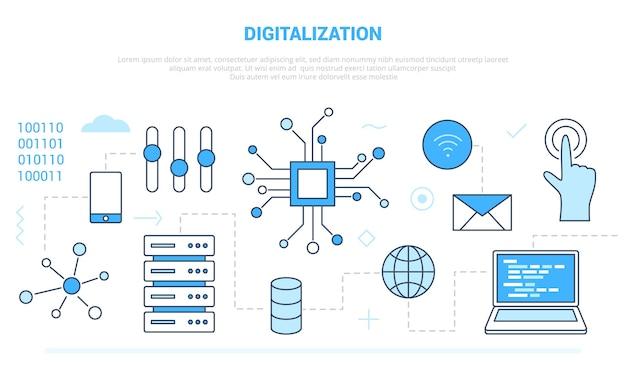 Digitalisierung für technologiecomputer Premium Vektoren