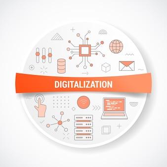 Digitalisierung mit symbolkonzept mit runder oder kreisformvektorillustration