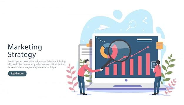 Digitalmarketingstrategiekonzept mit kleinem leutecharakter, tabelle, grafik auf bildschirm
