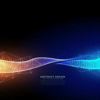 Digitalpartikel technologie hintergrund mit schönen lichteffekt