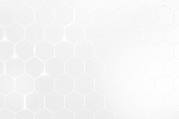 Digitaltechnik-hintergrundvektor mit sechseckmuster im weißton