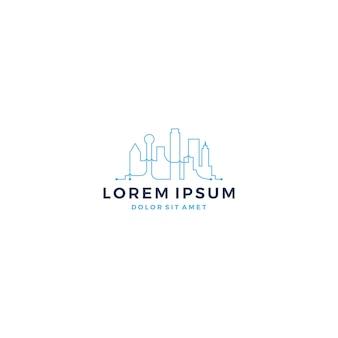 Digitaltechnik intelligente stadt skyline logo