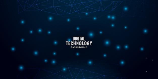 Digitaltechnikhintergrund mit glühenden linien masche