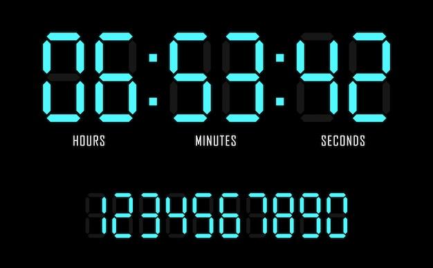 Digitaluhr-timer-hintergrund der flachen schablone des countdownwebsite-vektors.