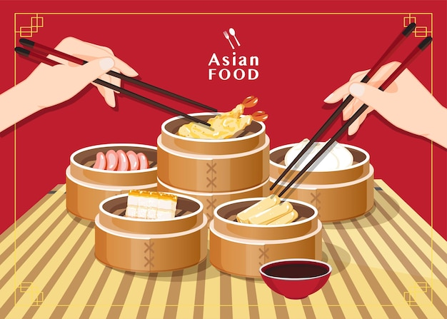 Dim sum illustration von chinesischem essen, asiatisches essen dim sum im dampfer