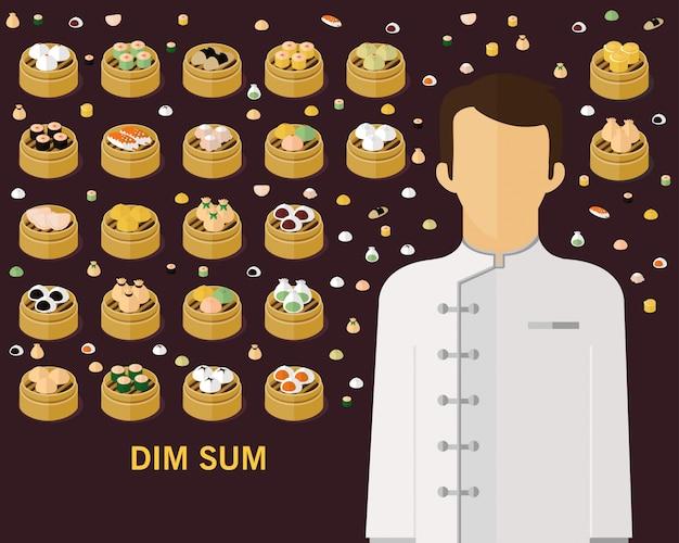 Dim-sum-konzept hintergrund. flache symbole.