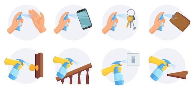 Dinge zu desinfizieren. reinigen und desinfizieren sie die bereiche schlüssel, geldbörse, smartphone und türknauf mit alkoholspray. vektortipps zum schutz des corona-virus. desinfektion von türklinke, handlauf, handy