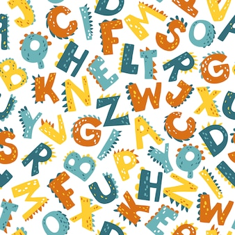Dino-alphabet. nahtloses muster des abc-vektors im einfachen karikaturstil.