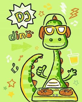 Dino-cartoon der diskjockey