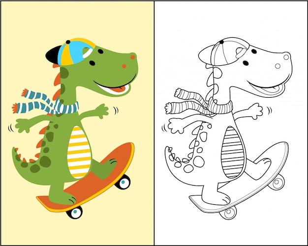 Dino cartoon der skateboarder