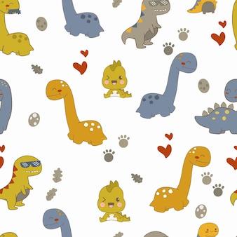 Dino-cartoons des nahtlosen musters nette