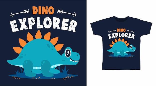 Dino-explorer-cartoon für t-shirt-design