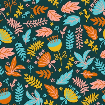 Dino fabric floral grunge prähistorischer nahtloser mustervektor