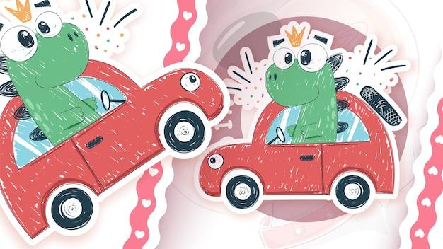 Dino fahrerauto - idee für ihren aufkleber