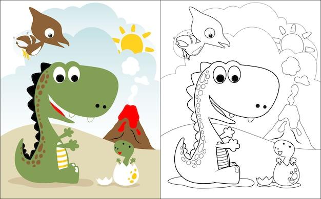 Dino-familienkarikatur