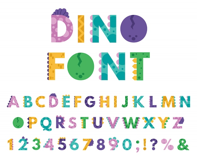 Dino hand gezeichnetes alphabet. cartoon niedlichen abc buchstaben dinosaurier für kinder, comic dino englisch alphabet ikonen illustration set. alphabet-dino-art-karikatur für kinder, abc-studienillustration