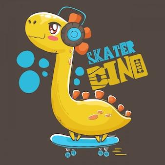 Dino hört musik auf skateboardillustration